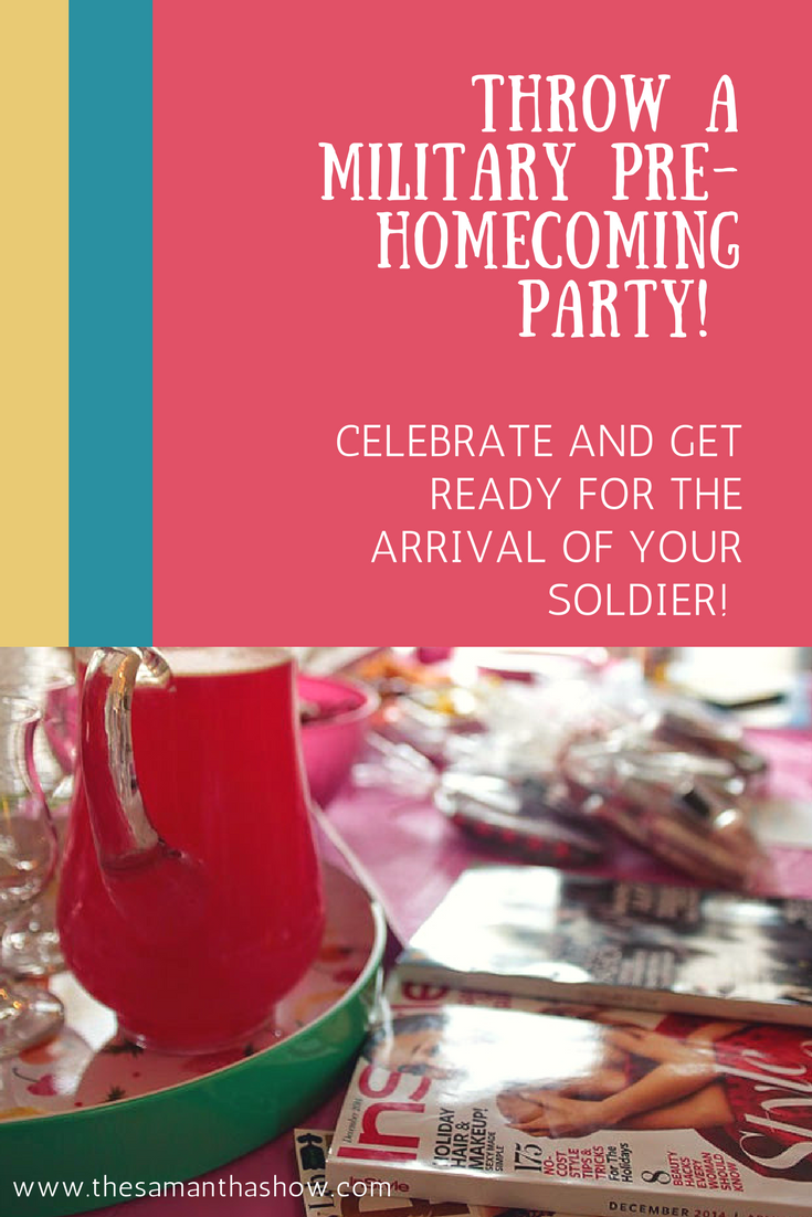 Throw a military pre-homecoming party and get ready for your soldier's return with your closest friends! Drinks, sign-making, nail painting, and more!