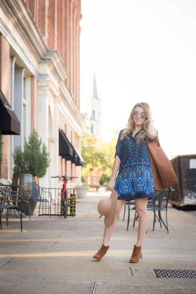 Boho blue dress puts a fun twist on the fall trend.
