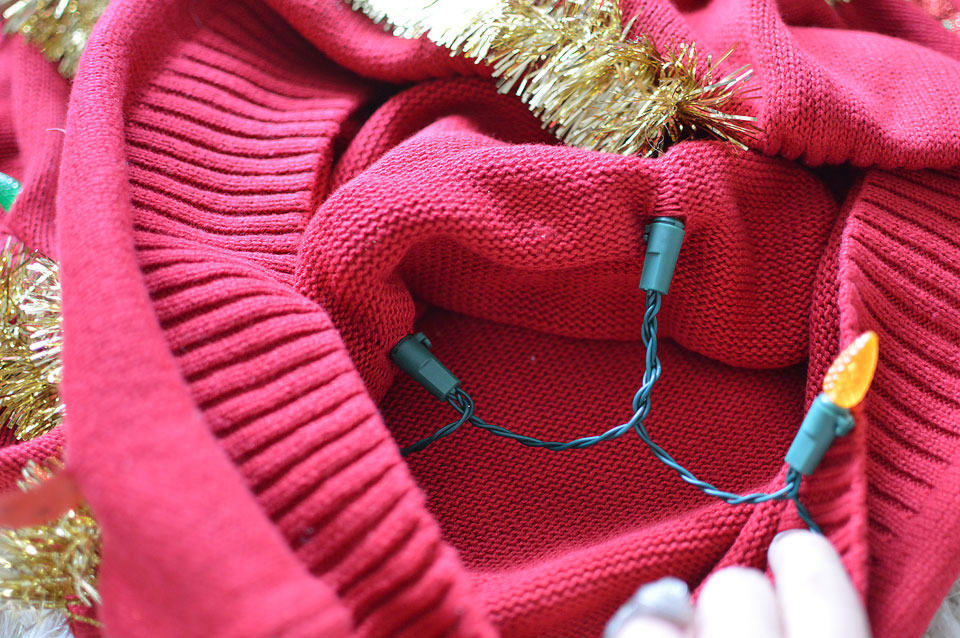 Life and style blogger, The Samantha Show, brings you this easy to follow DIY Light Up Ugly Christmas Sweater tutorial just in time for the holidays.