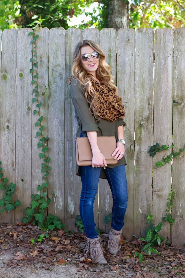 Fall fashion; olive tunic, jeans, fringe booties, leopard scarf. Effortless and chic. -The Samantha Show