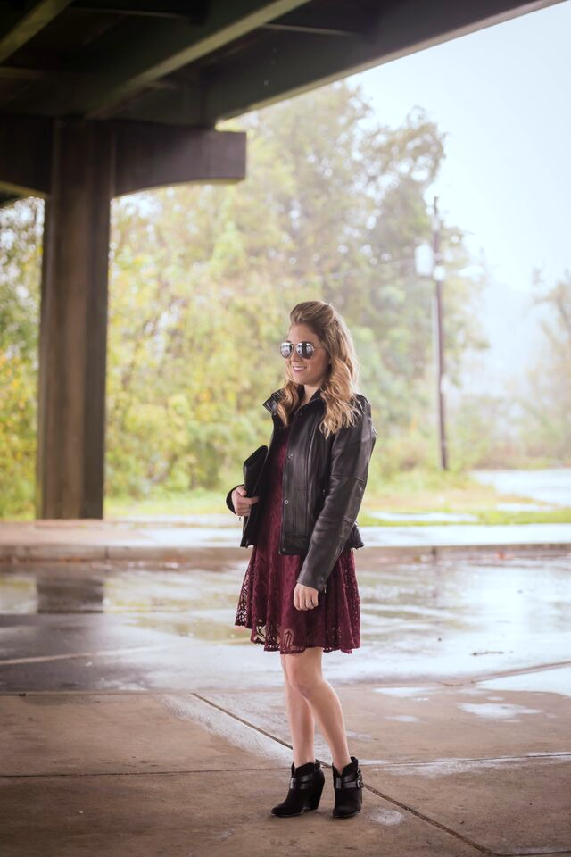 How to style a leather jacket; pair with a lace dress for a edgy yet feminine look.