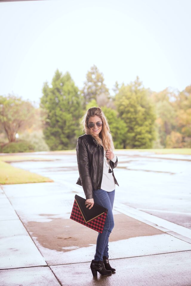 How to style a leather jacket; jeans, thermal top, statement clutch and leather jacket. Perfectly chic!