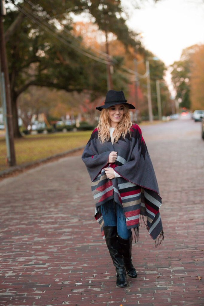 All about the ponchos this fall. Pair with a fun fedora or floppy hat and knee high boots for the ultimate chic yet comfortable fall look- The Samantha Show