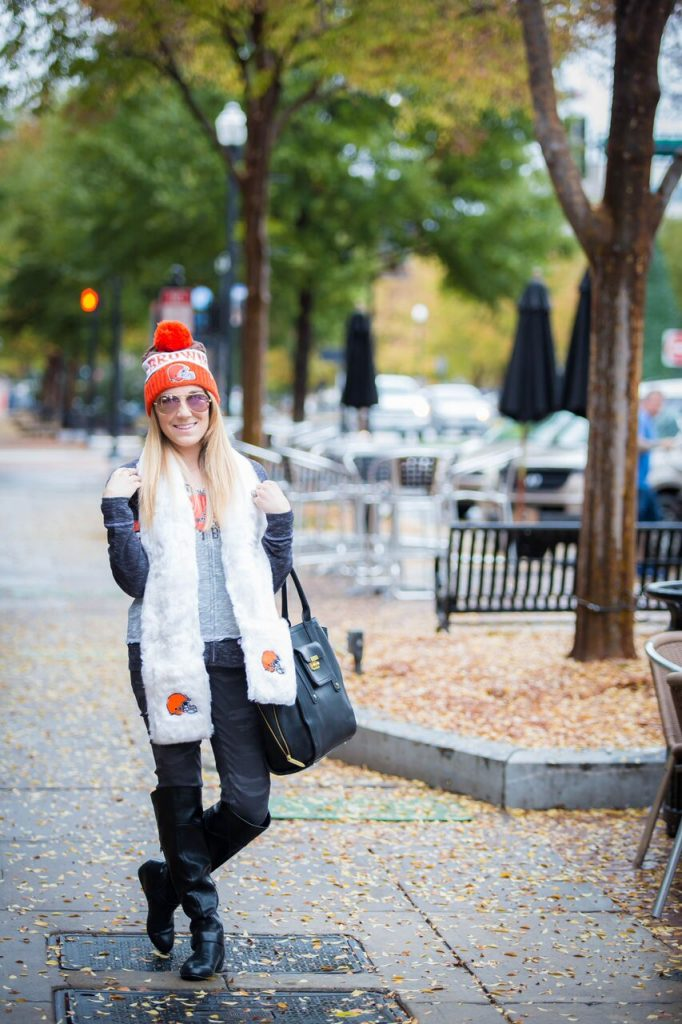 Cleveland Browns cold weather outfit for women. #MyNFLFanStyle- The Samantha Show
