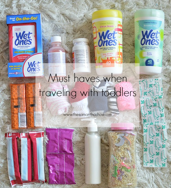 Life and style blogger, The Samantha Show shares some must-haves when traveling with toddlers + a DIY Busy Bottle to occupy them in the car!