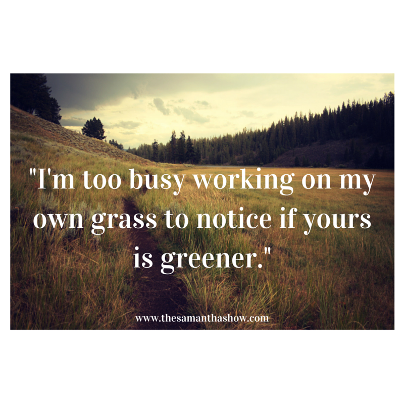 -I'm too busy working on my own grass to notice if yours is greener.-
