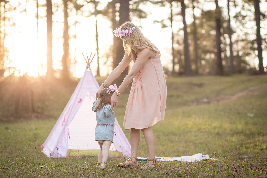 Mommy and me boho shoot with tee pee and flower crowns. That golden hour light is perfection!