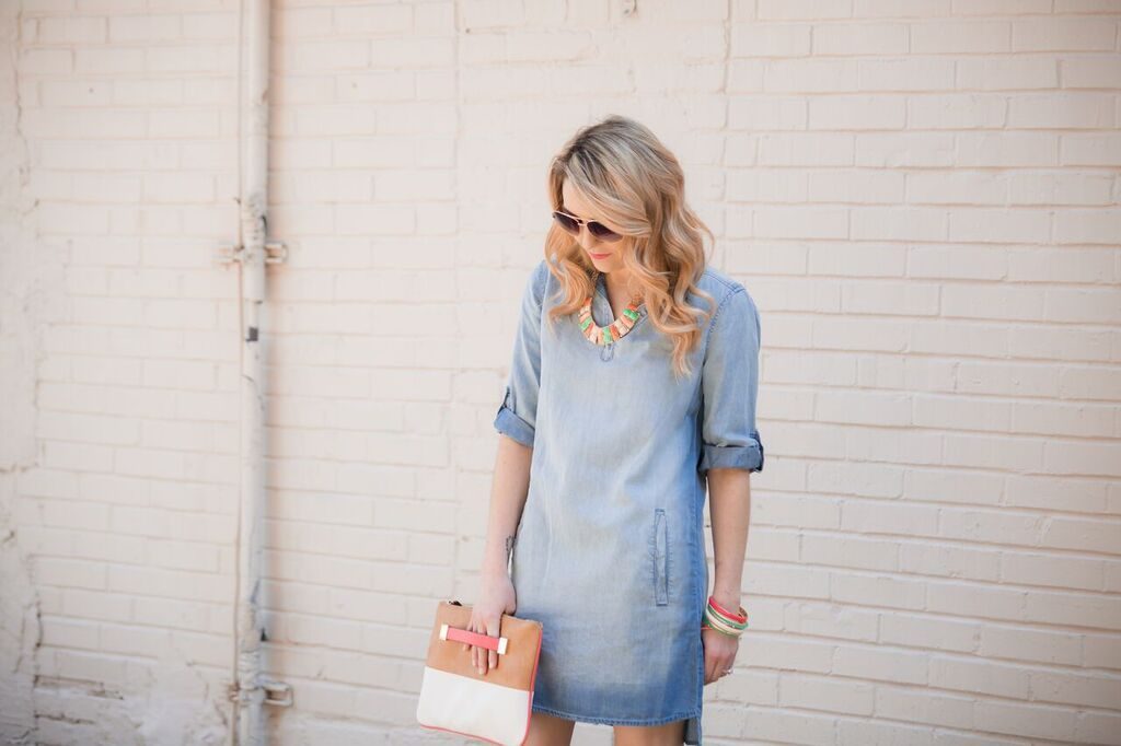 spring style; chambray with pops of color