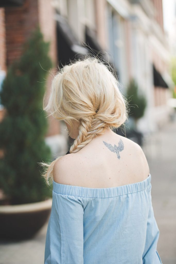 chambray dress and fishtail braid
