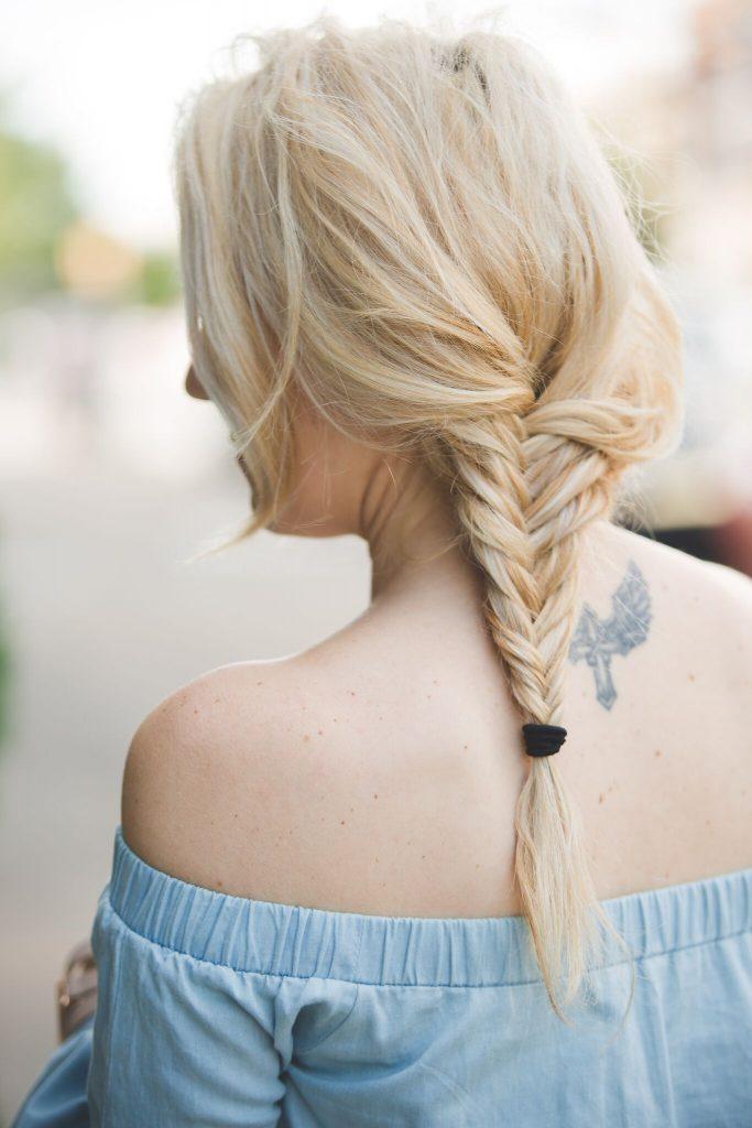 chambray dress and fishtail braid