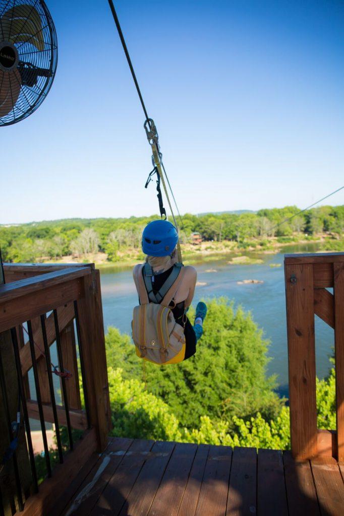 Ziplining across the Chattahoochee River