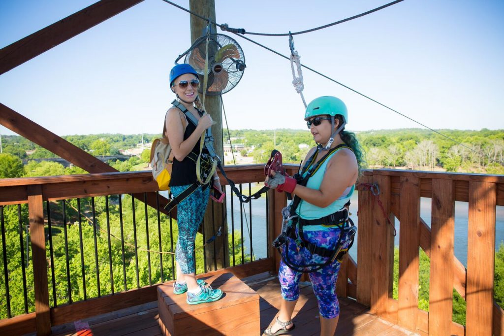 Ziplining across the Chattahoochee River