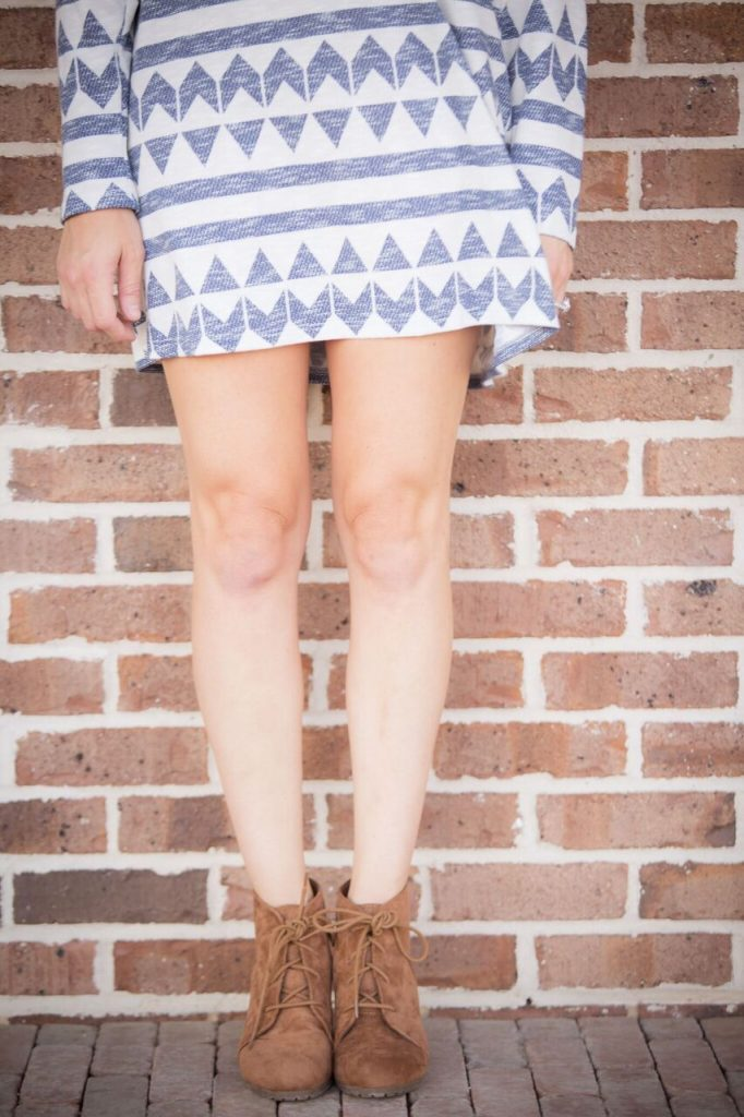 Aztec print with chunky heel booties; a perfect transition from summer to fall.