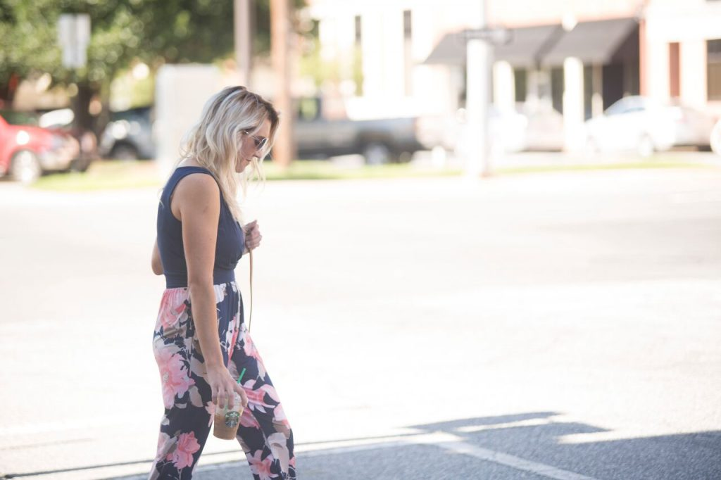 Floral pantsuit from Mo and Cho Boutique