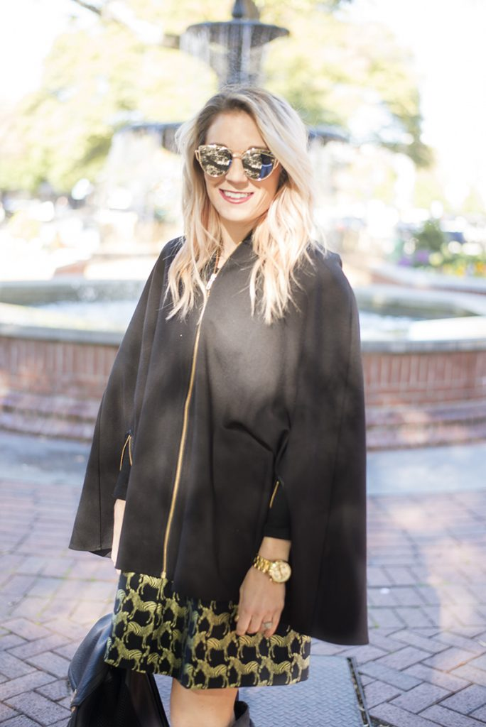 holiday outfit ideas; mix black and gold and buy pieces that you can wear all year round instead of just seasonally. This specific holiday fashion look with Crown & Ivy skirt and poncho are perfect!