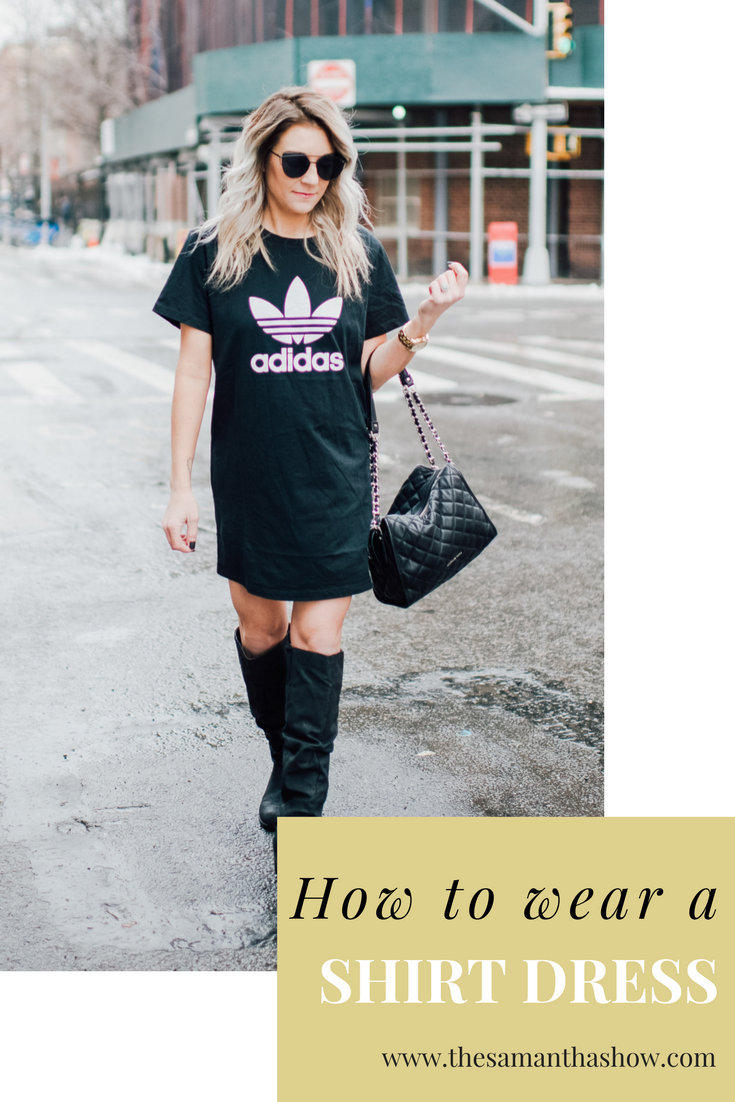 Life and style blogger, The Samantha Show, shares how to style a t-shirt dress. A t-shirt dress is an easy style to dress up or dress down.