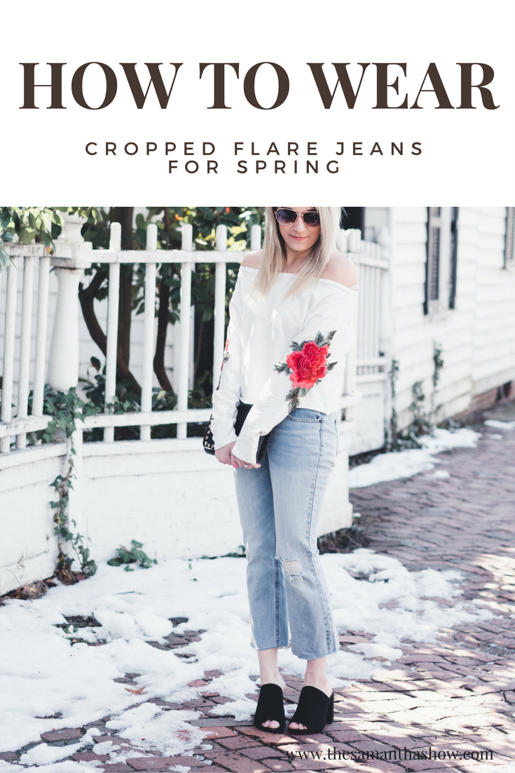 How to wear cropped flare jeans for spring