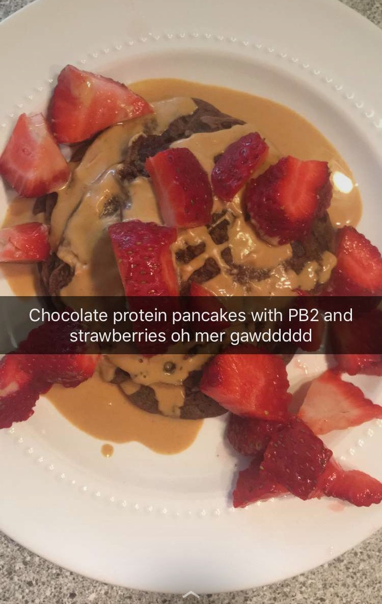 Dark chocolate protein pancakes with PB2 and strawberries