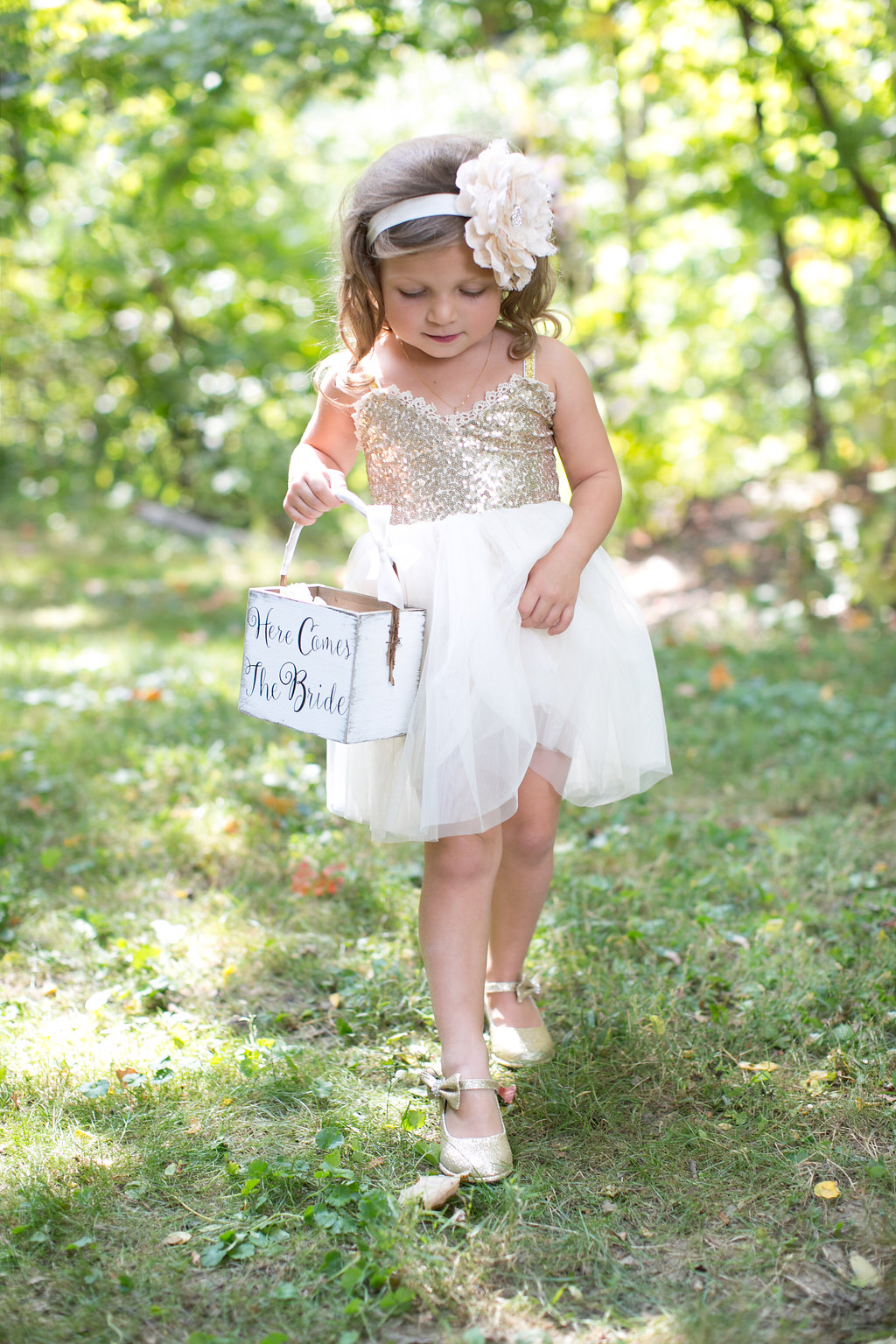 A perfect fall wedding; ivory and gold sequin flower girl dress