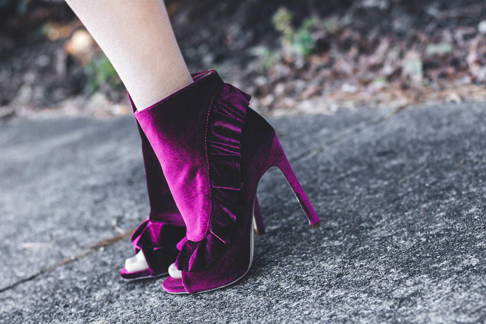 Velvet shoes with ruffles take any holiday outfit to the next level.