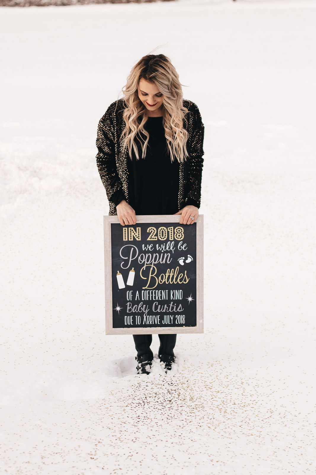 Holiday pregnancy announcement for New Year's Eve