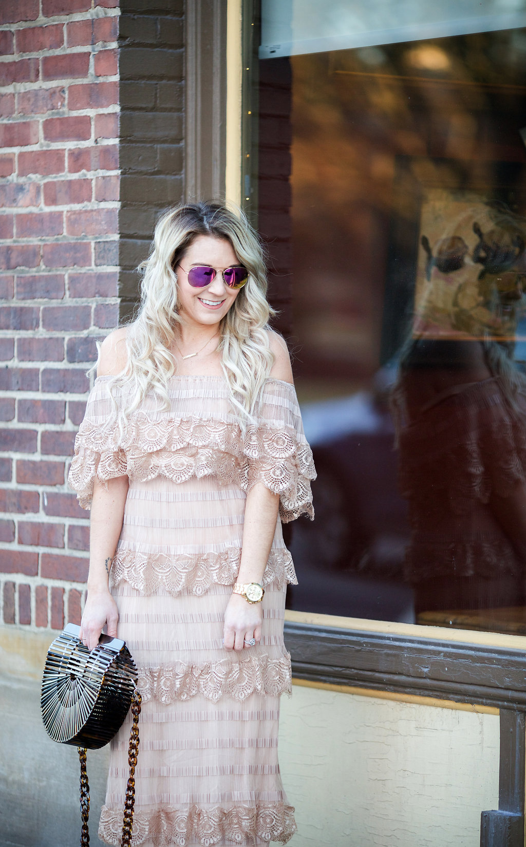 spring dresses: off the shoulder tiered lace dress