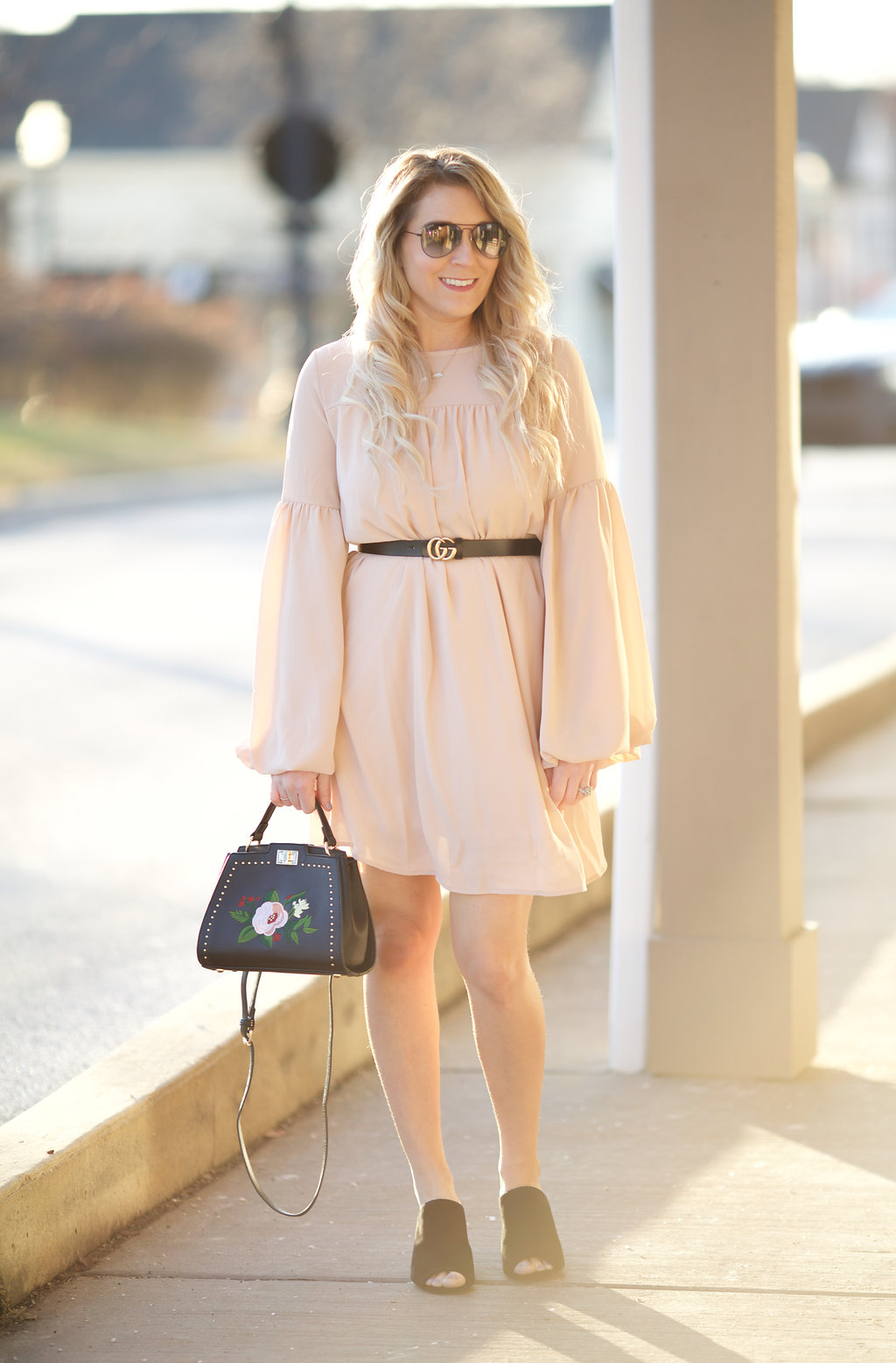 A champagne dress is perfect for spring!
