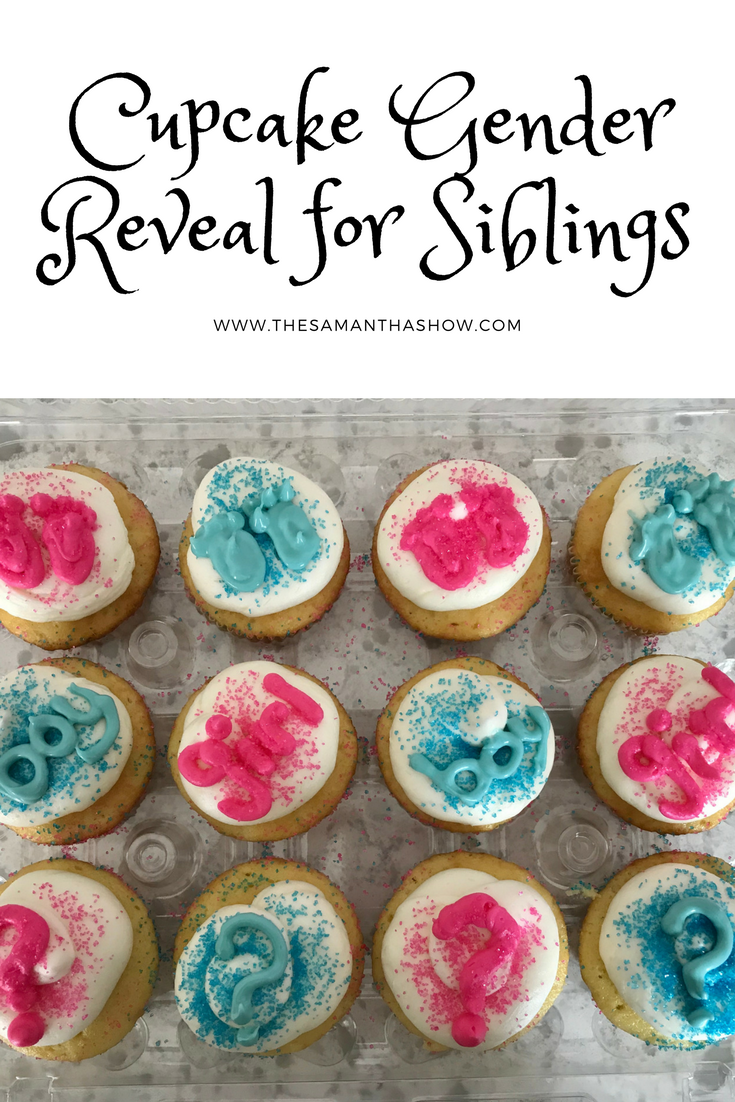 Cupcake Gender Reveal for Siblings: fill the cupcake with blue or pink icing and let them bite into their surprise!
