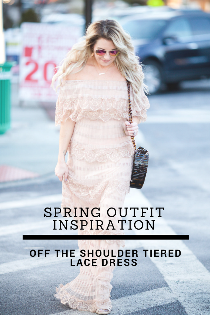 spring outfit inspiration: off the shoulder tiered lace dress