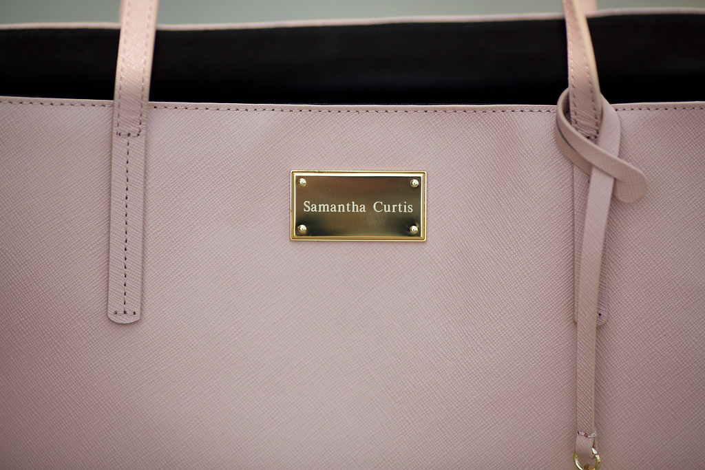 00b0aeb9873 Personalized Leather Tote  How cute is this tote ! It comes in multiple  different colors ( I have Blush but I m loving the Lilac too!)