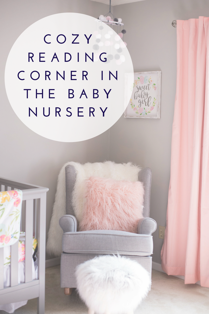 Cozy reading corner in the baby nursery