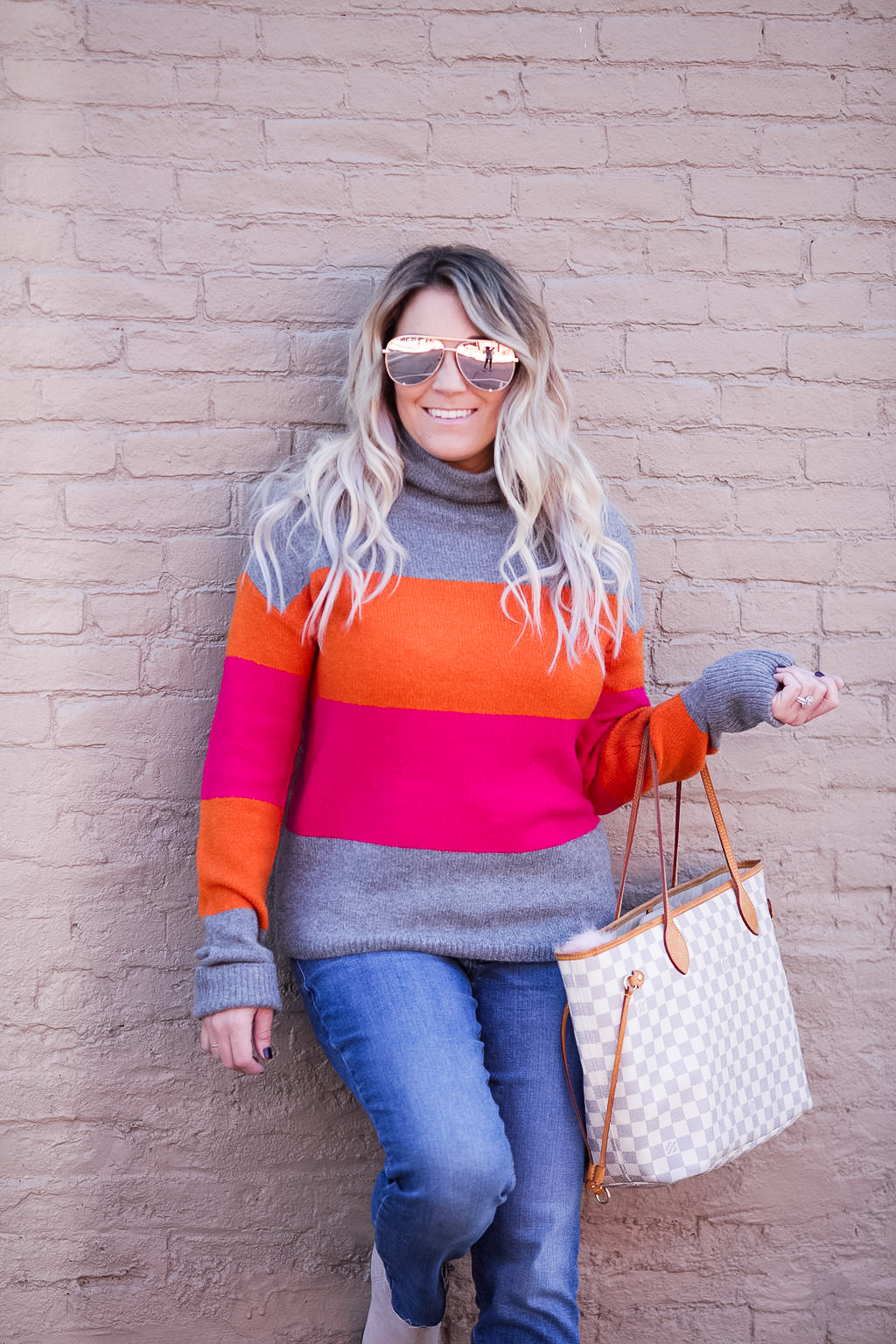 Pink and orange neon colorblock sweater