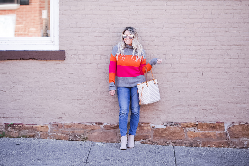 Colorblock sweaters for fall