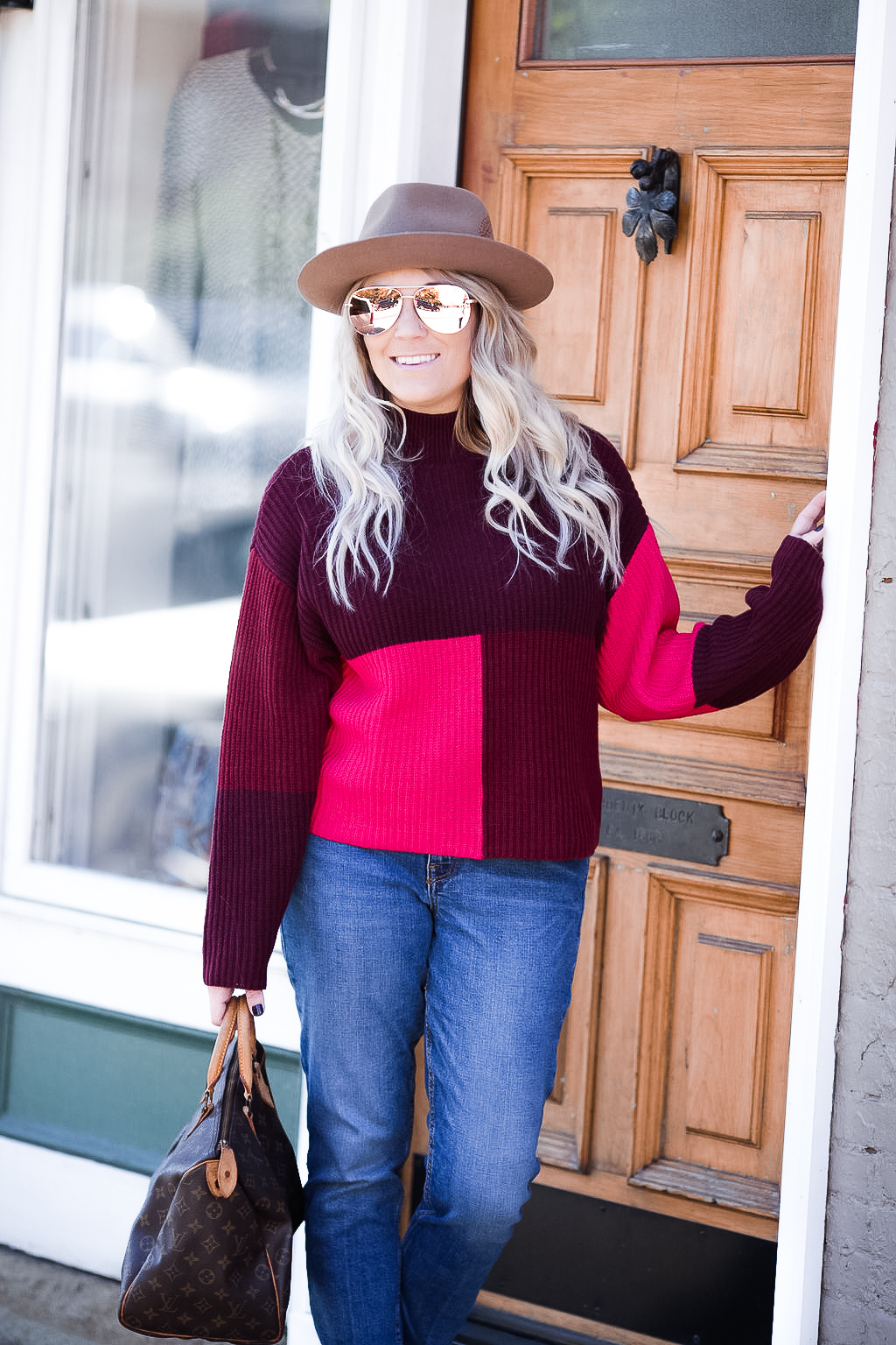 Colorblock sweaters for fall style.
