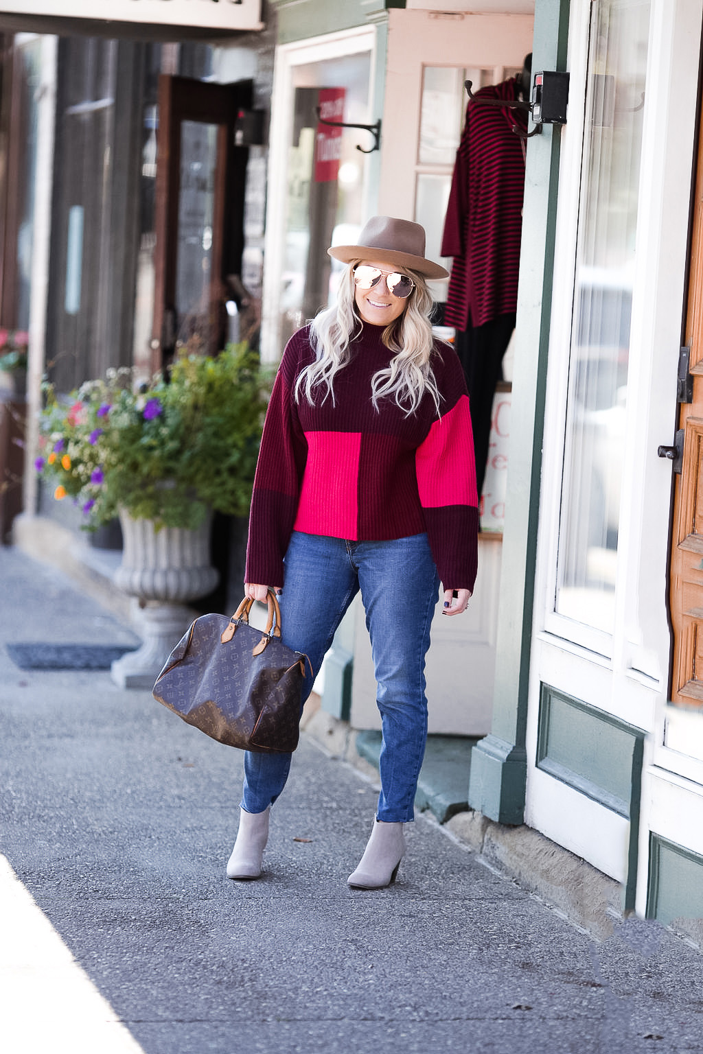 Colorblock sweater with neutral booties