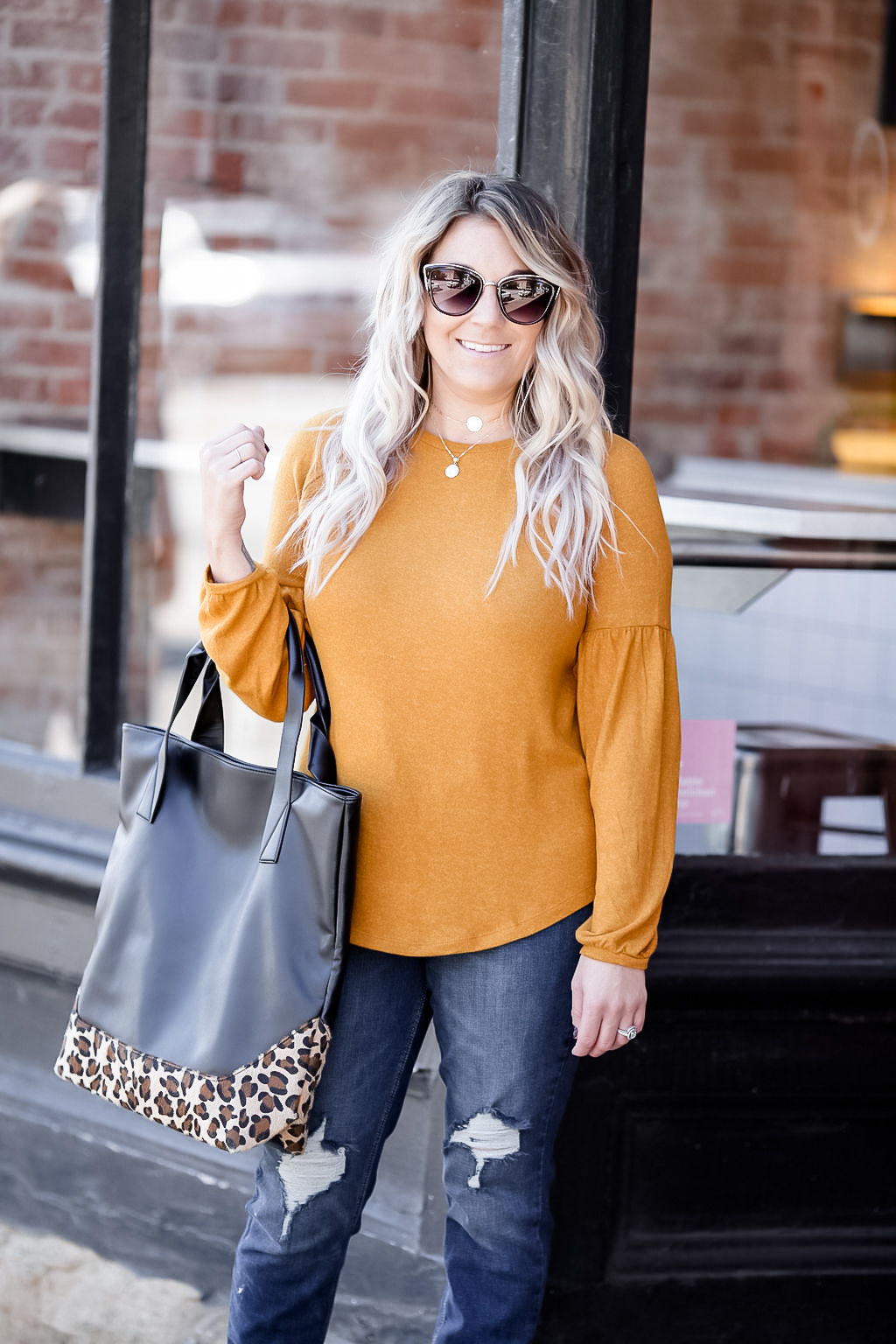 f5a1a76433 Cleveland blogger The Samantha Show shares some fall style inspiration with  a classic balloon sleeve sweater