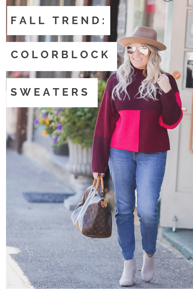 Cleveland blogger The Samantha Show shares one of her favorite fall trends: colorblock sweaters.