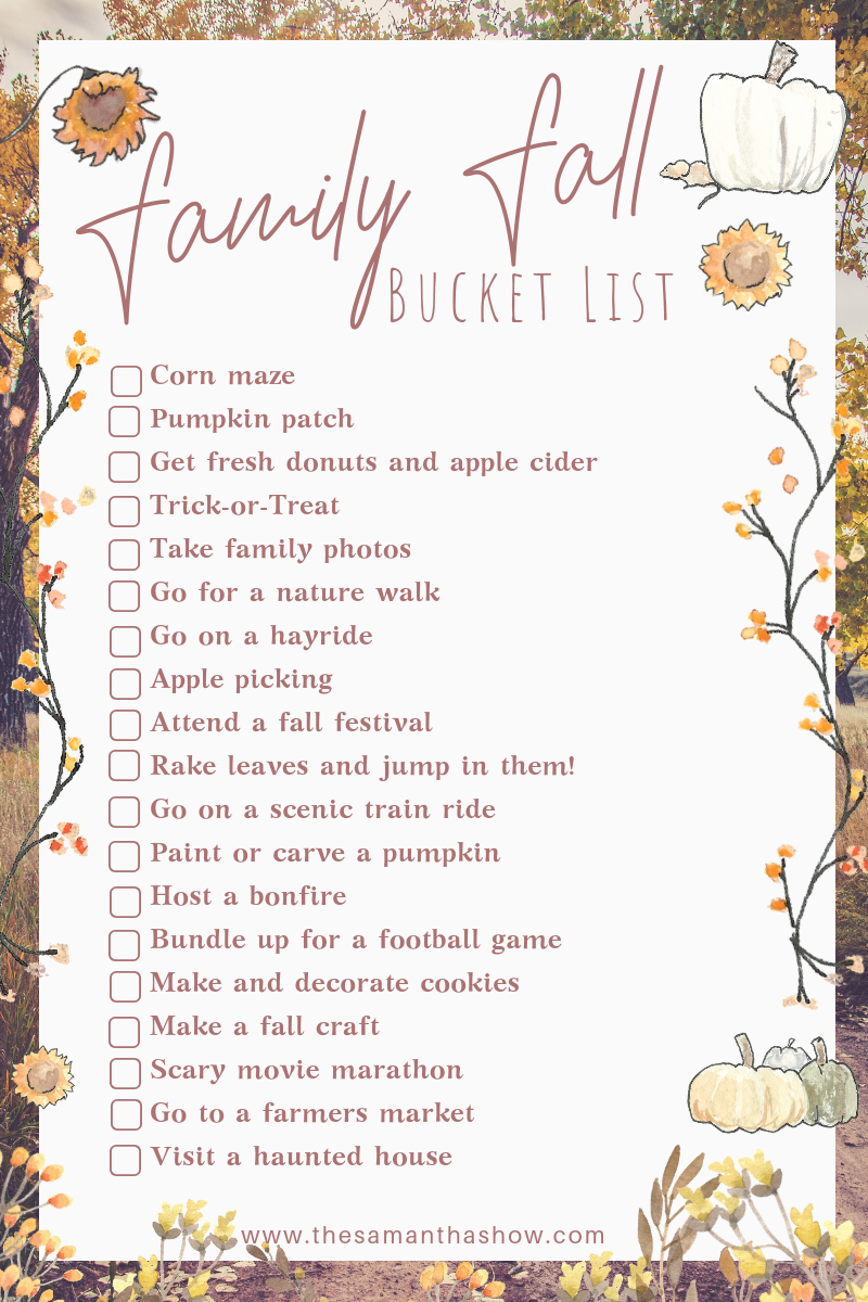 Grab your FREE printable for the ultimate Family Fall Bucket List!