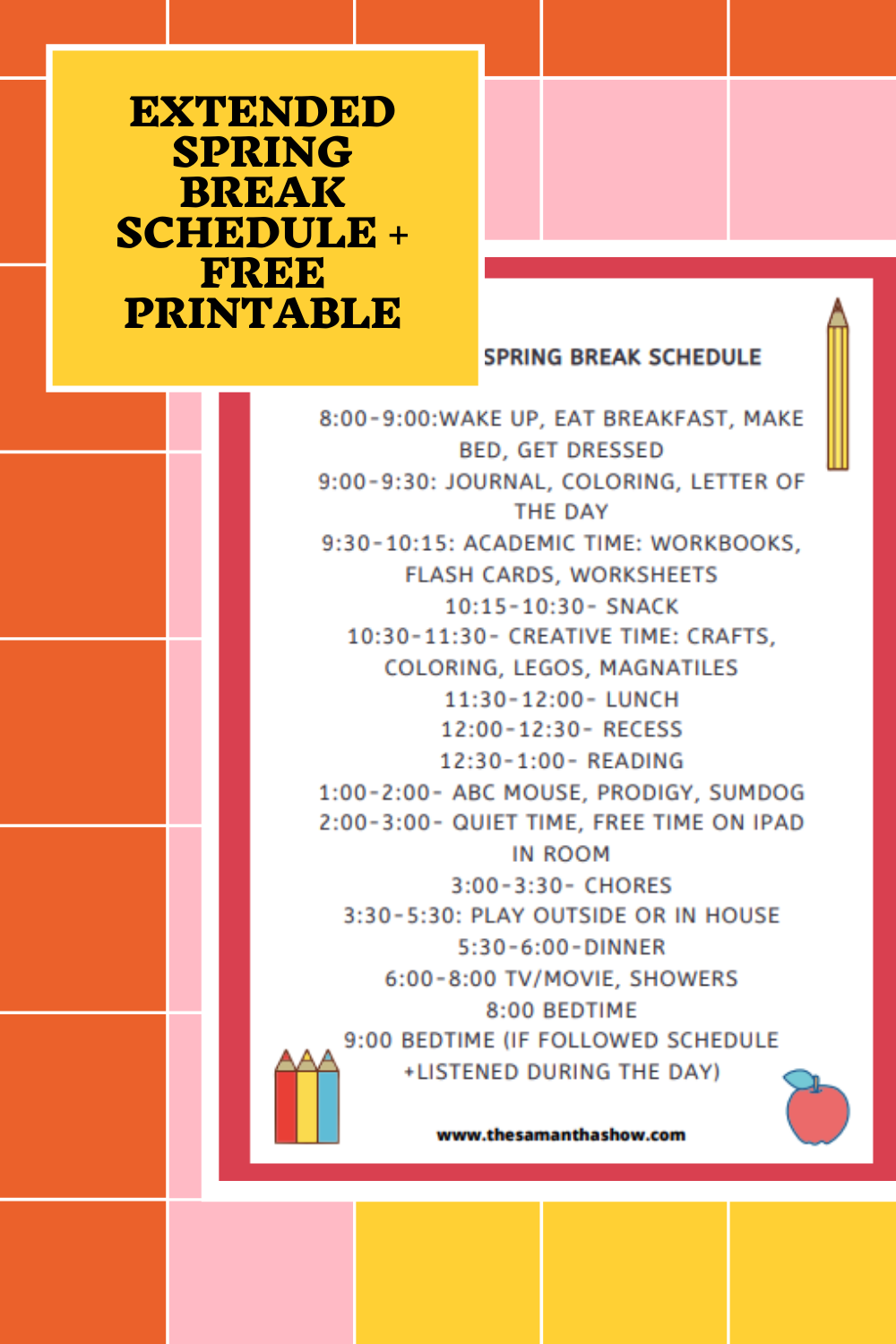 extended spring break schedule + free printable