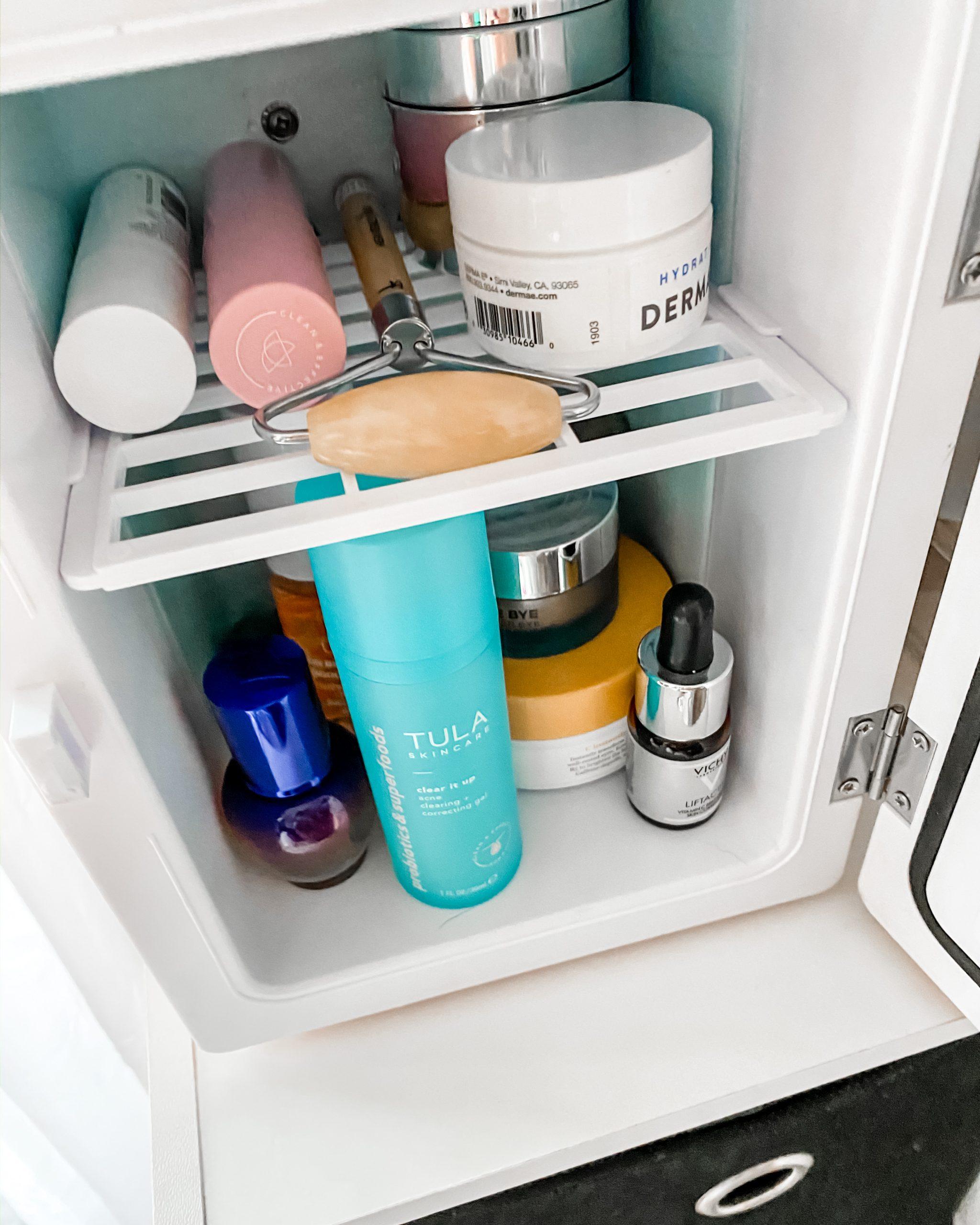 a look inside a skincare fridge
