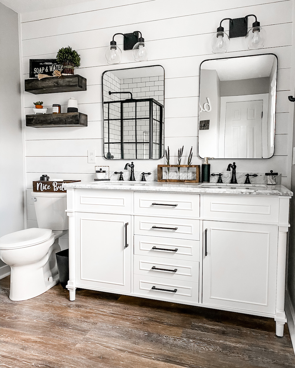modern farmhouse master bathroom renovation